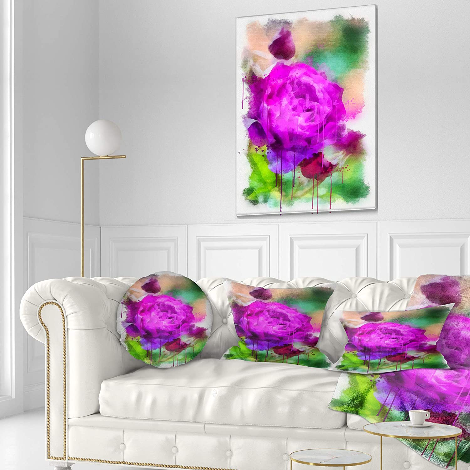 Designart CU13690-20-20-C Purple Watercolor Rose Painting Floral Round Cushion Cover for Living Room Sofa Throw Pillow 20