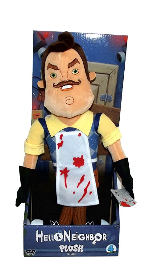Hello Neighbor Large Neighbor Plush Figure Toy, 15 inches (Holding a Butcher Knife with