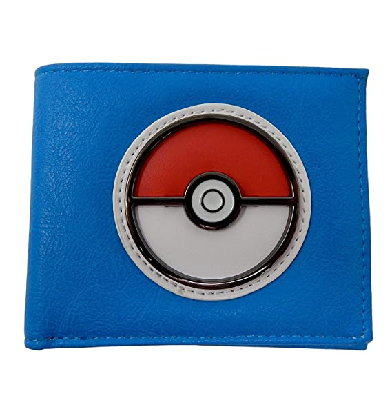 Amazoncom Pokemon Pokeball Blue Bi Fold Wallet Clothing