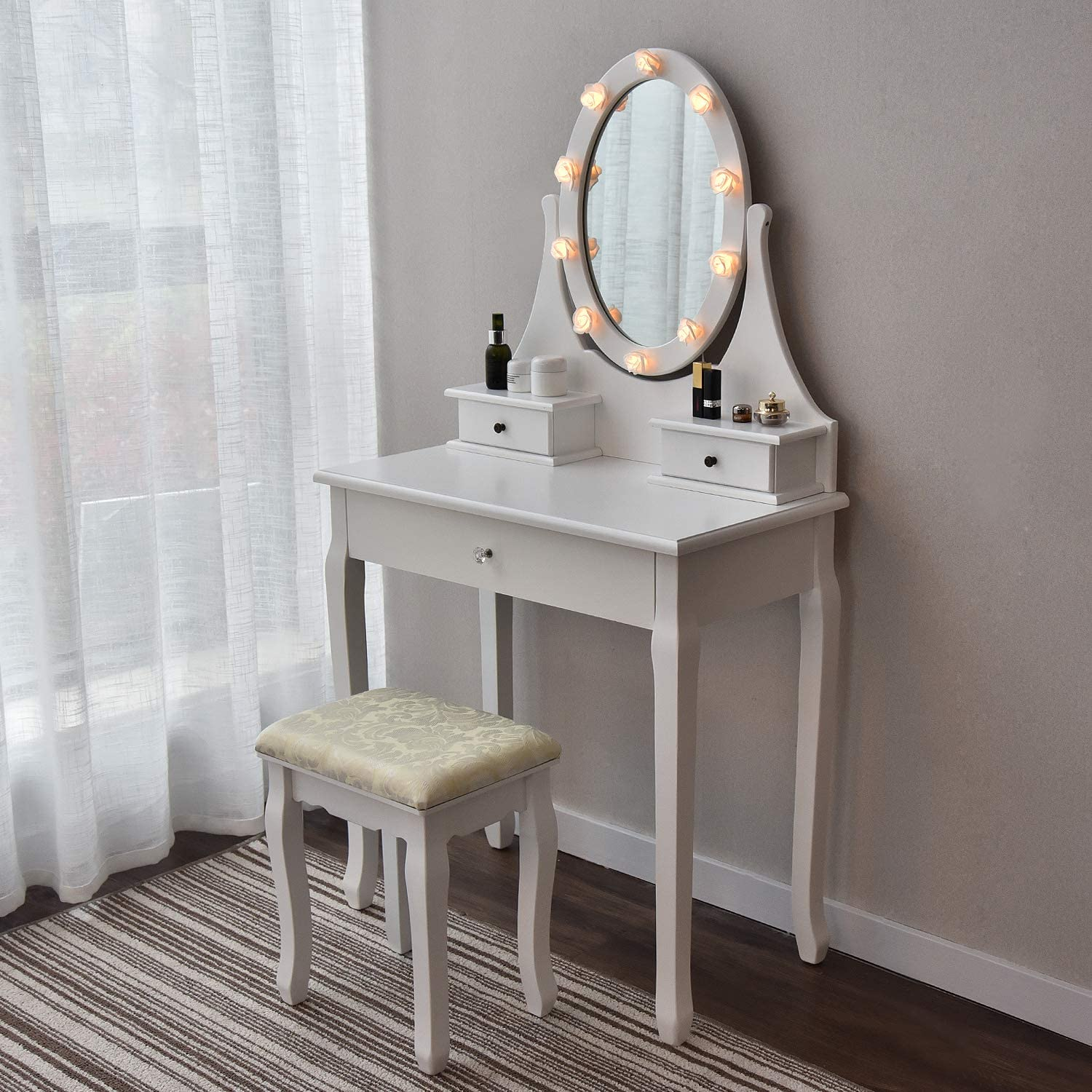 Makeup Vanity Table Set Mirror With Led Lights Dressing Table And Stool Set With Drawers Removable Top Organizer Multi Functional Writing Desk Padded Stool Large Bedroom Vanities Tables With Benches Kitchen