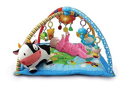 VTech Mantita de juego cantarín 2 en 1, manta y gimnasio de aprendizaje para bebé con más de 40 canciones, frases y melodías, panel extraíble, ...