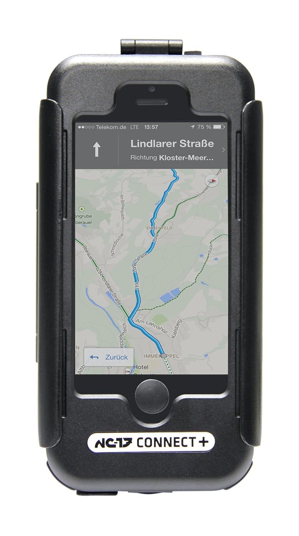 NC-17 Connect wetterfeste drehbare Fahrrad-/Motorradhalterung für iPhone 5/5S/5C/SE (Handyhülle mit Ladekabel- und Kopfhörerzugang, Öffnung für Kameralinse, mit Lenkerhalter als Ladeadapter) Kopfhörerzugang 4019 4019_Matt Schwarz