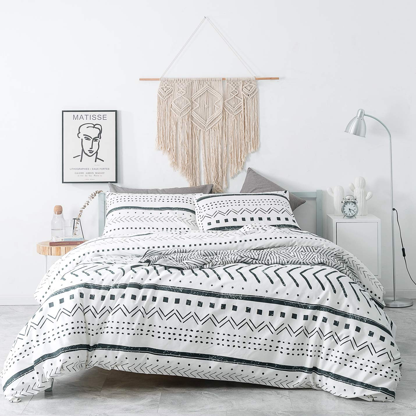 SUSYBAO 3 Pieces Duvet Cover Set 100% Natural Cotton White Queen Size Black Herringbone Geometric Pattern Bedding with Zipper Ties 1 Stripe Print Duvet Cover 2 Pillow Cases Hotel Quality Soft Durable