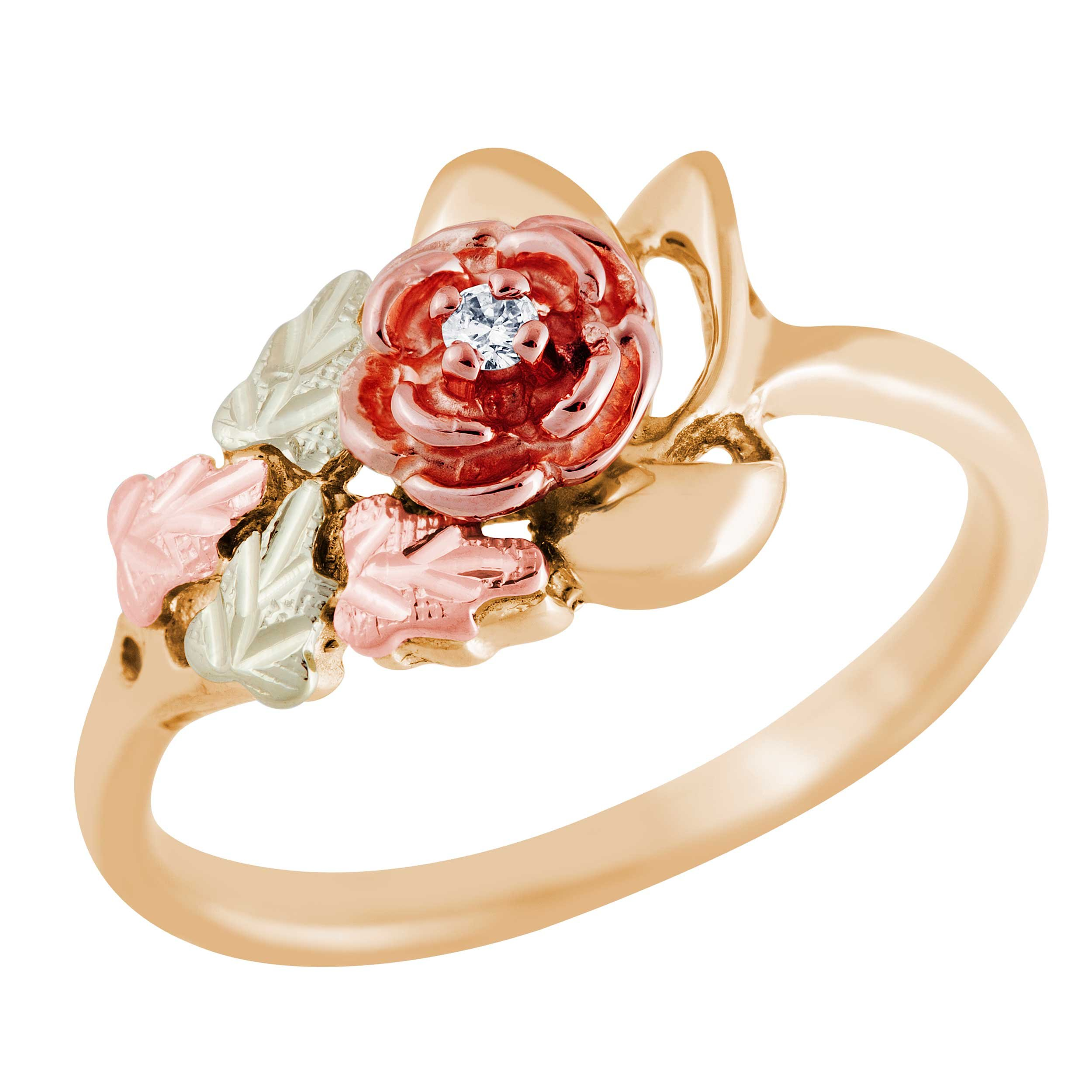 Black Hills Gold Rose Ring with Diamond …