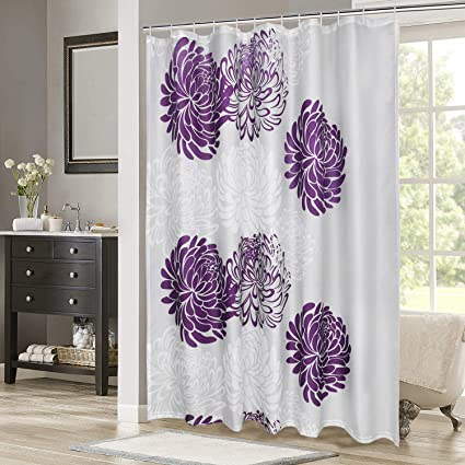 Image Unavailable Not Available For Color Purple Floral Flower Shower Curtain