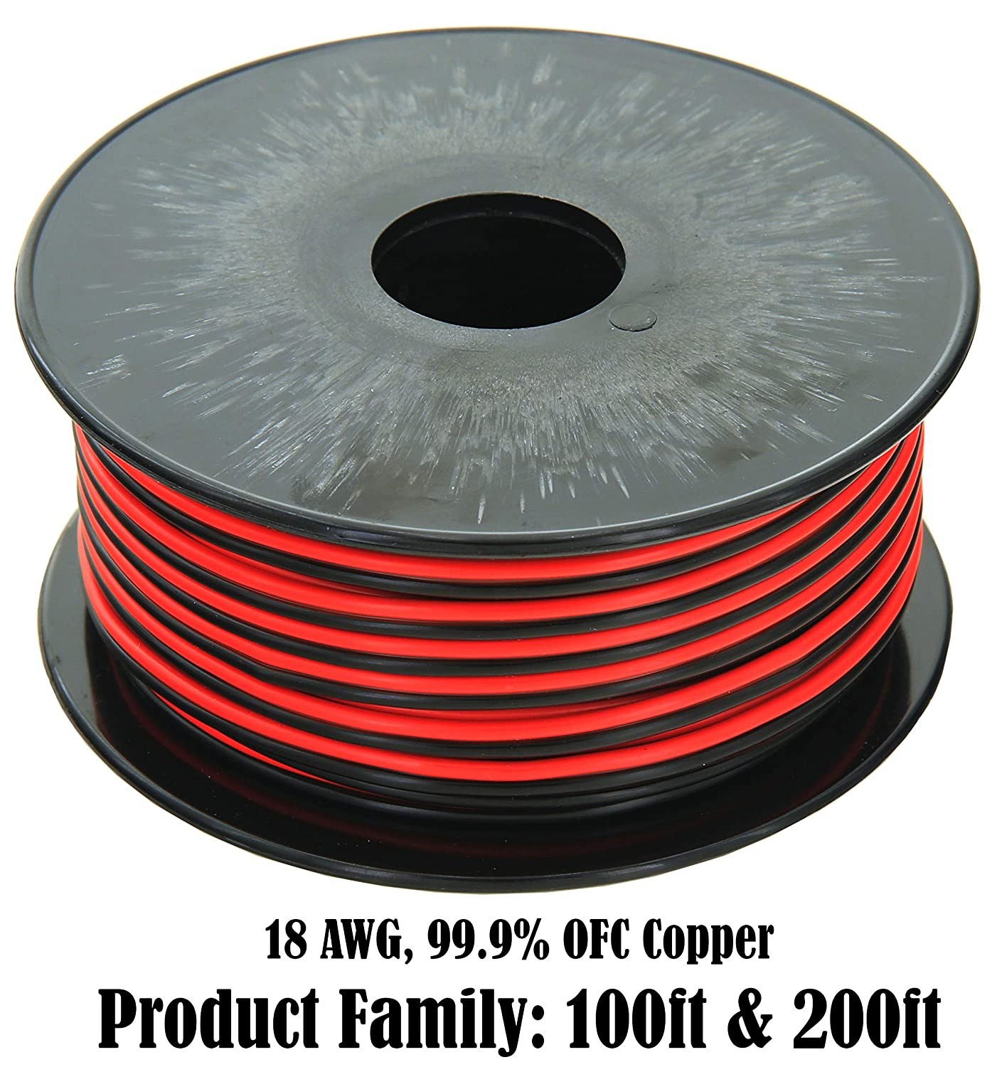 GS Power 18 Gauge (True American Wire Ga), 99.9% Stranded Oxygen Free Copper OFC Red Black Bonded Zip Cord Speaker Cable for Car Audio Radio Home Stereo Wiring (Option: 100 ft or 200 ft roll)
