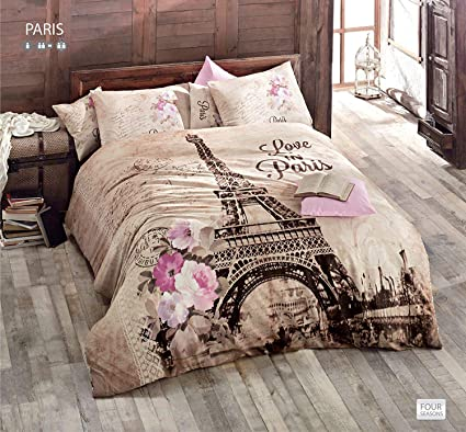 3faf60aebb1643 Amazon.com: 100% Turkish Cotton Ranforce Paris Eiffel Tower Theme Themed  Full Double Queen Size Quilt Duvet Cover Set Bedding 4 Pcs!! Made in Turkey:  Home & ...