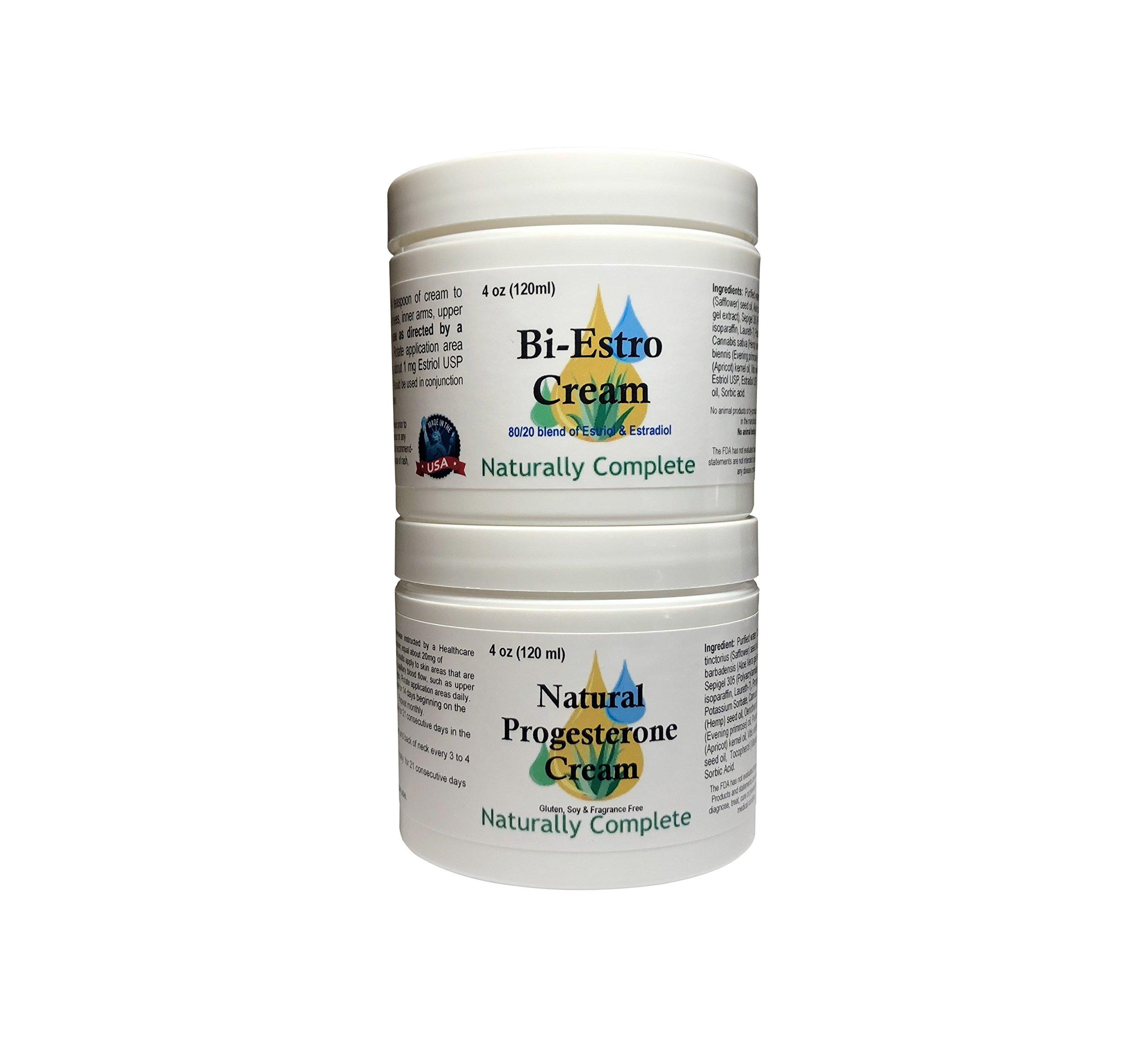 Naturally Complete Bi-Estro Pack | 1 Bi-Estro 4 oz Jar and 1 Progesterone 4 oz Jar | 2 Natural Menopause Products in One