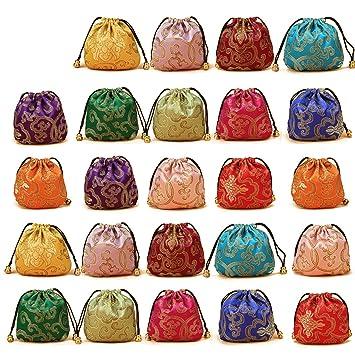 e4a9b614ec71 Elesa Miracle 24pcs Silk Brocade Jewelry Pouch Bag, Drawstring Coin Purse,  Gift Bag Value Set