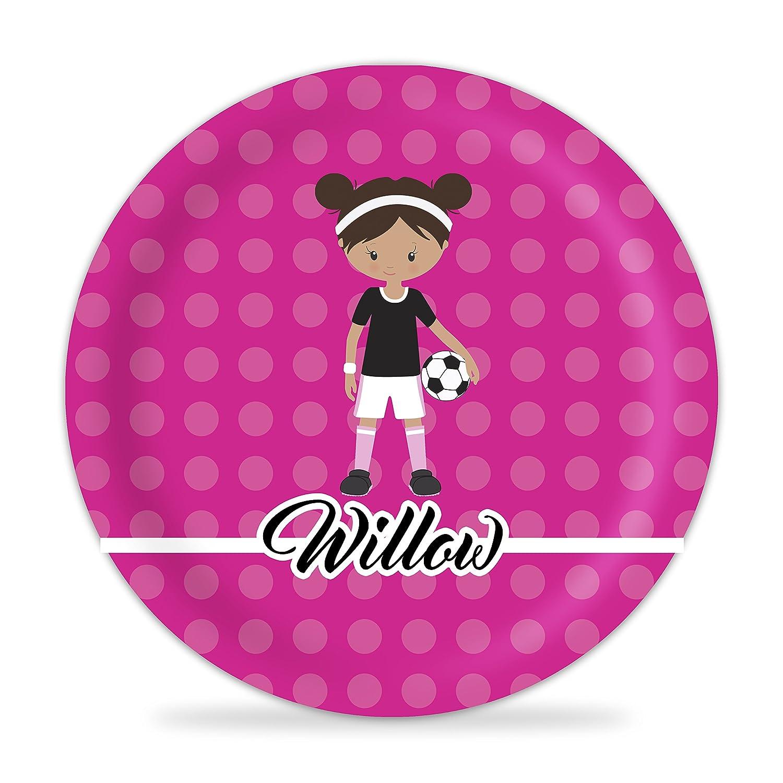 Hot Pink Girl Soccer Player Melamine Personalized Name Plate Soccer Girl Plate