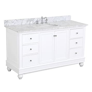single white vanity with sink. Bella 60 inch Single Sink Bathroom Vanity  Carrara White Includes