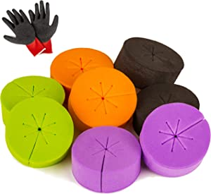 DO&Papa 50 Pack Cloning Collars Inserts Mixed Colors Cloner Pucks For Hydroponics Systems & Clone Machines Fits 2 Inch Net Pots Cups Comes With Gardening Working Gloves