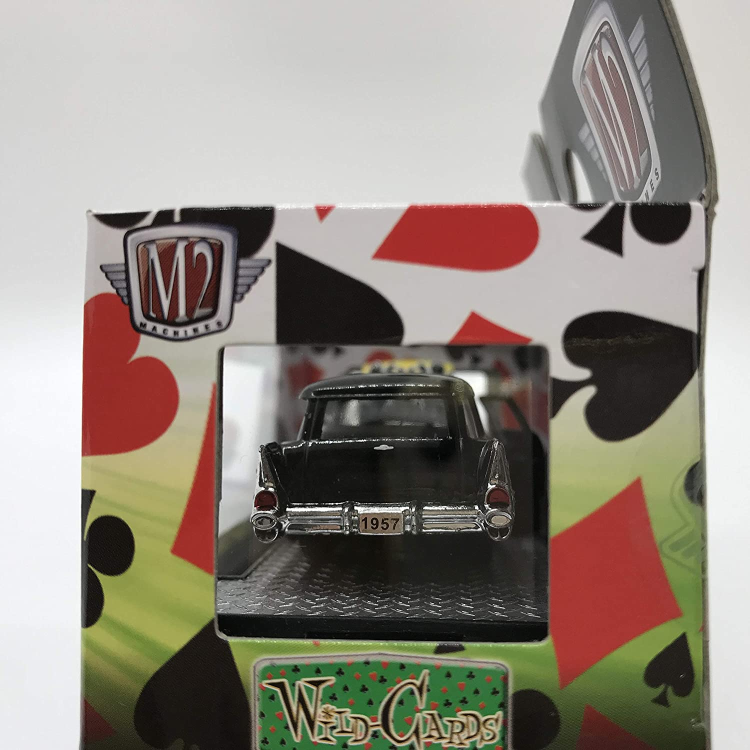 1 of 3480 M2 Machines Wild-Cards 1957 Chevrolet 210 Beauville Station Wagon WC12 16-52 Black//Yellow Red Flame Details Like NO Other