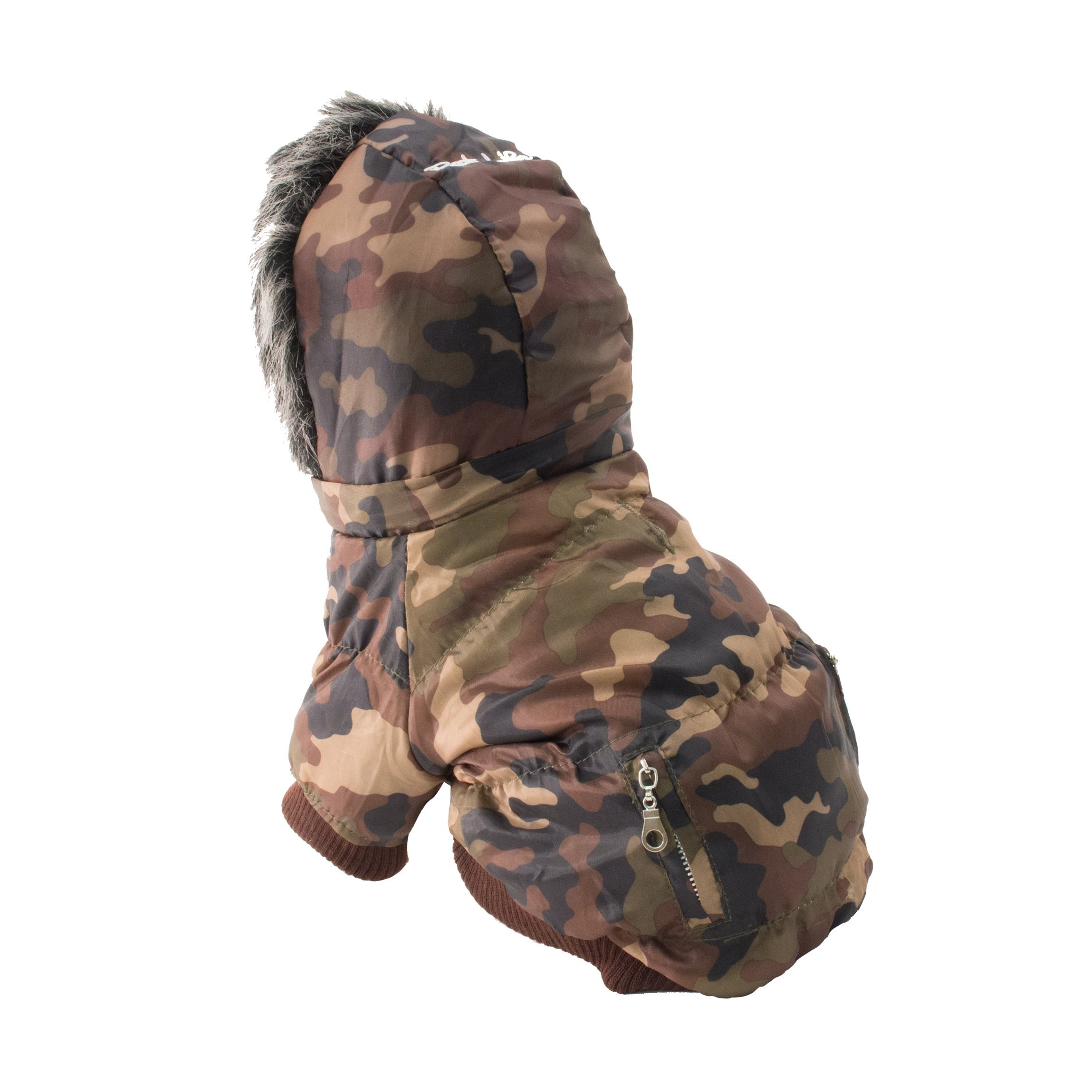 PET LIFE Classic Metallic Fashion Pet Dog Coat Jacket Parka w/ 3M Insulation and Removable Hood, X-Small, Camouflage