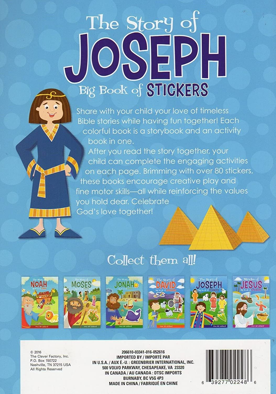 The Story of Joseph Activity Book Includes Over 80 Stickers The Clever Factory Big Book of Stickers