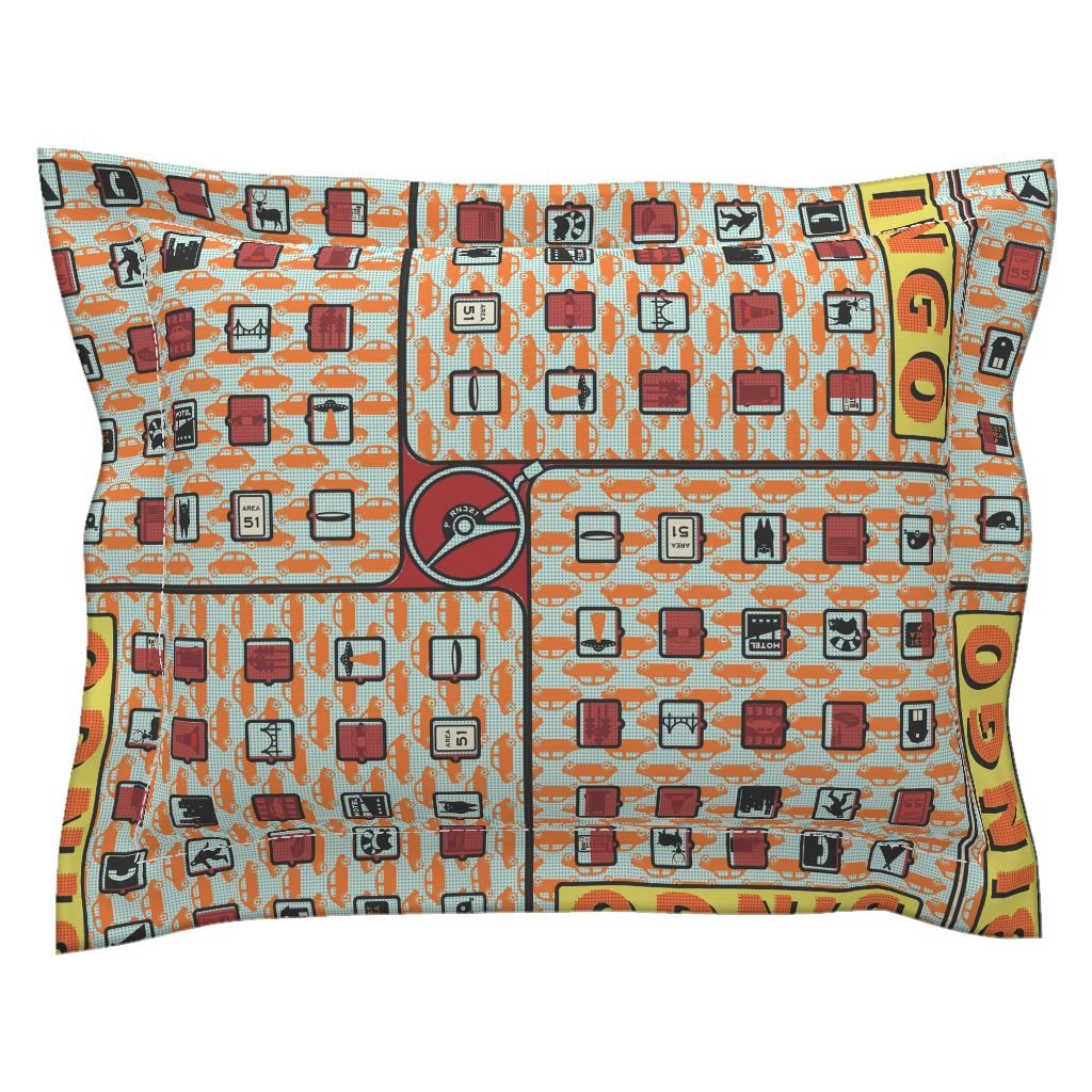 Roostery Highways Euro Flanged Pillow Sham Road Trip Bingo! by Thirdhalfstudios Natural Cotton Sateen Made by Roostery