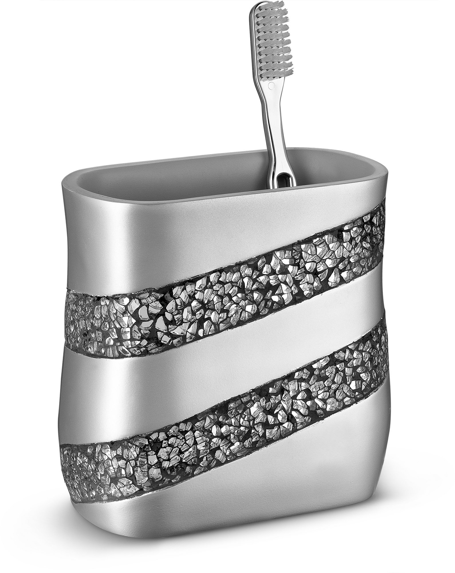DWELLZA Silver Mosaic Bathroom Toothbrush Holder (5'' x 3'' x 5'') - Family Brush Toothpaste Cup- Holds Multiple Standard Electric Toothbrushes-for Elegant Bath Shower Decor (Silver Gray) by DWELLZA