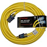 ProStar 10 Gauge SJTW 3 Conductor 25 Foot Extension Cord With Lighted Ends - Yellow