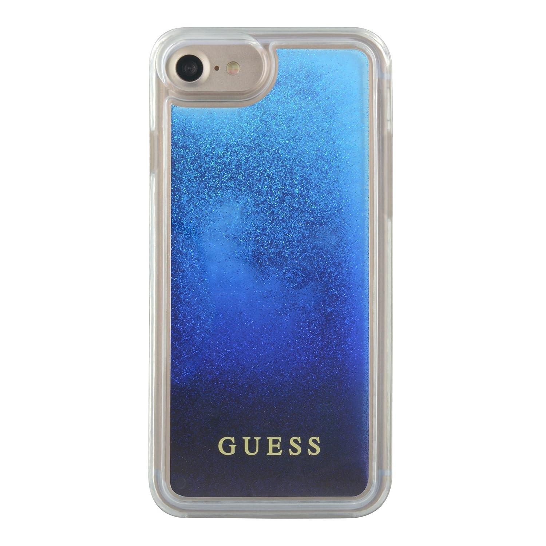 Guess GUHCP7GLUGRRBL Hart Schutzhülle für Apple iPhone 7 Glitzerblau