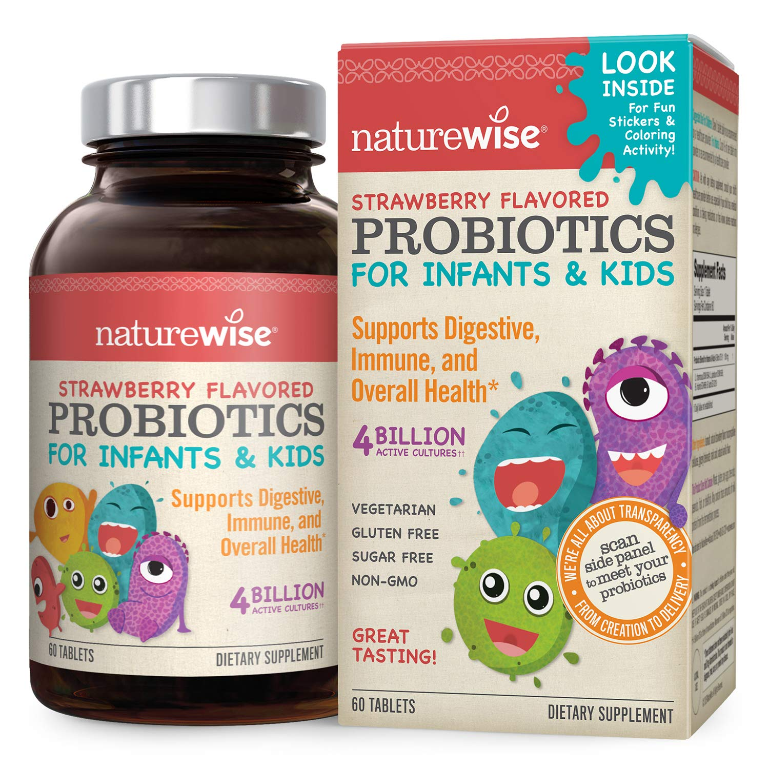 NatureWise Kids Chewable Probiotics Supplement | Clinically Researched for Digestion & Immune Support | Probiotic Powder for Children, Infants, & Babies | Sugar Free Natural Strawberry Flavor, 60 ct