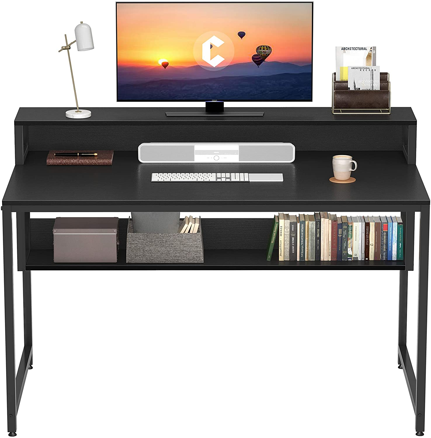 """Cubiker Computer Home Office Desk, 47"""" Small Desk Table with Storage Shelf and Bookshelf, Study Writing Table Modern Simple Style Space Saving Design, Black"""
