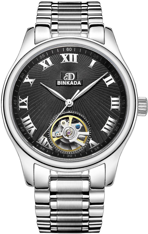BINKADA For Man Auto Mechanical Movementブラックダイヤルオスメンズ腕時計の# 7001l01 – 2 B0166EEAQS
