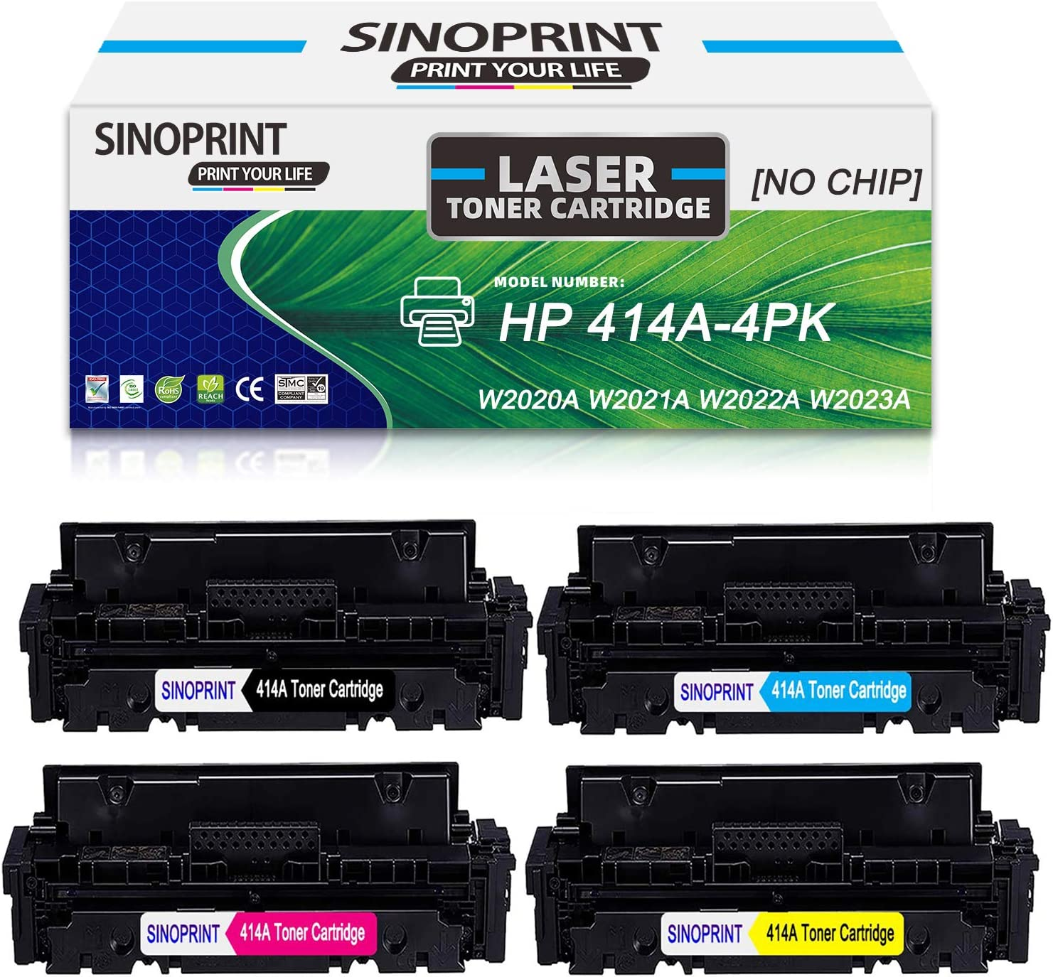 [NO CHIP] SINOPRINT Compatible 414A Toner Cartridge Replacement for HP 414A 414X for HP Color Laserjet Pro M454dw M454 M454dn MFP M479fdw M479fdn Printers (W2020A W2021A W2022A W2023A, 4 Pack)