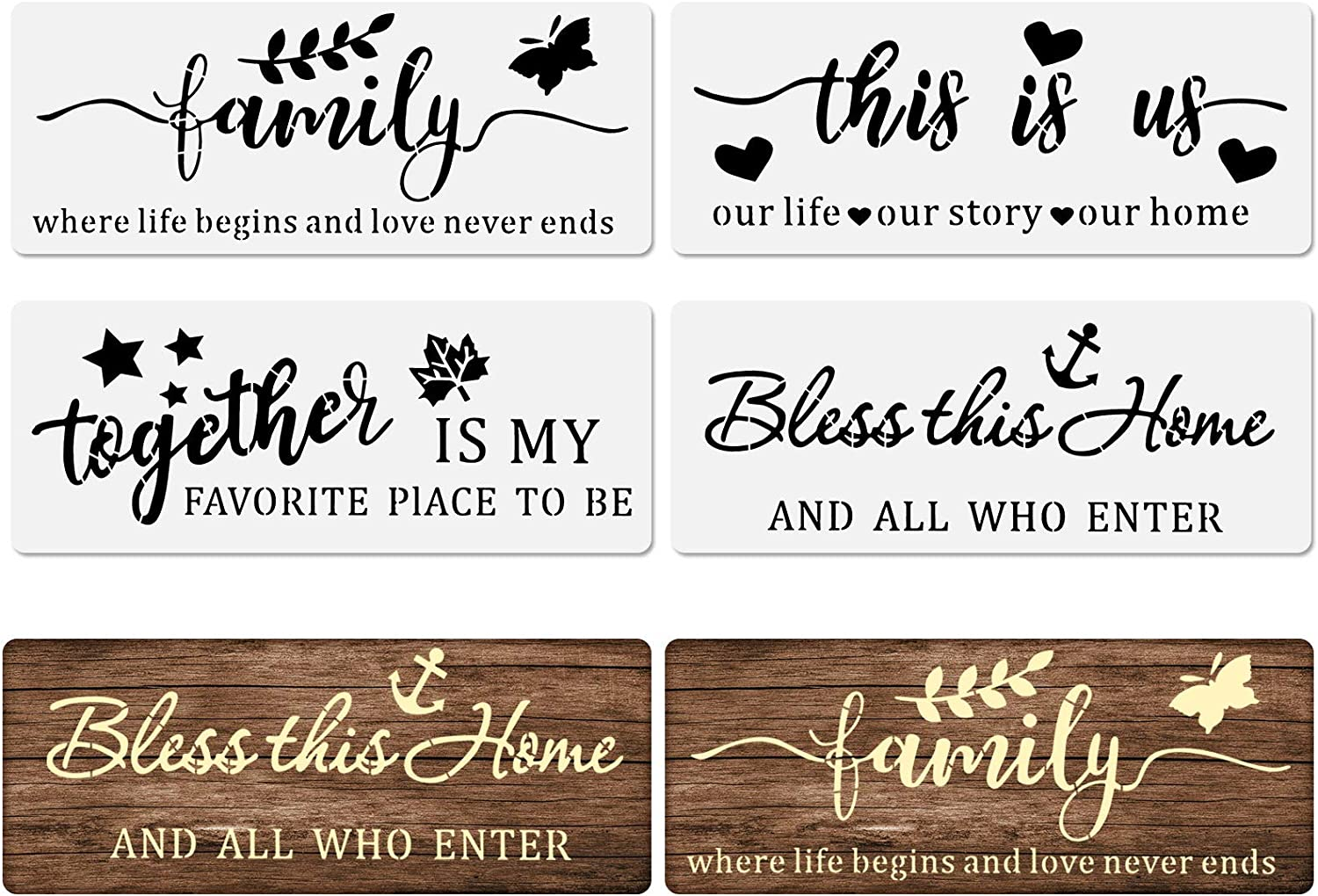 4 Pieces Word Stencil Family Sign Stencil Inspirational Quote Stencils Templates Reusable Plastic Motivational Word Stencils for Word Art Painting on Wood Walls Home Window Glass Decor
