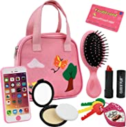 Click N' Play 8Piece Girls Pretend Play Purse, Including A Smartphone, Car Keys, Credit Card, Lipstick, Lights Up & Make Rea