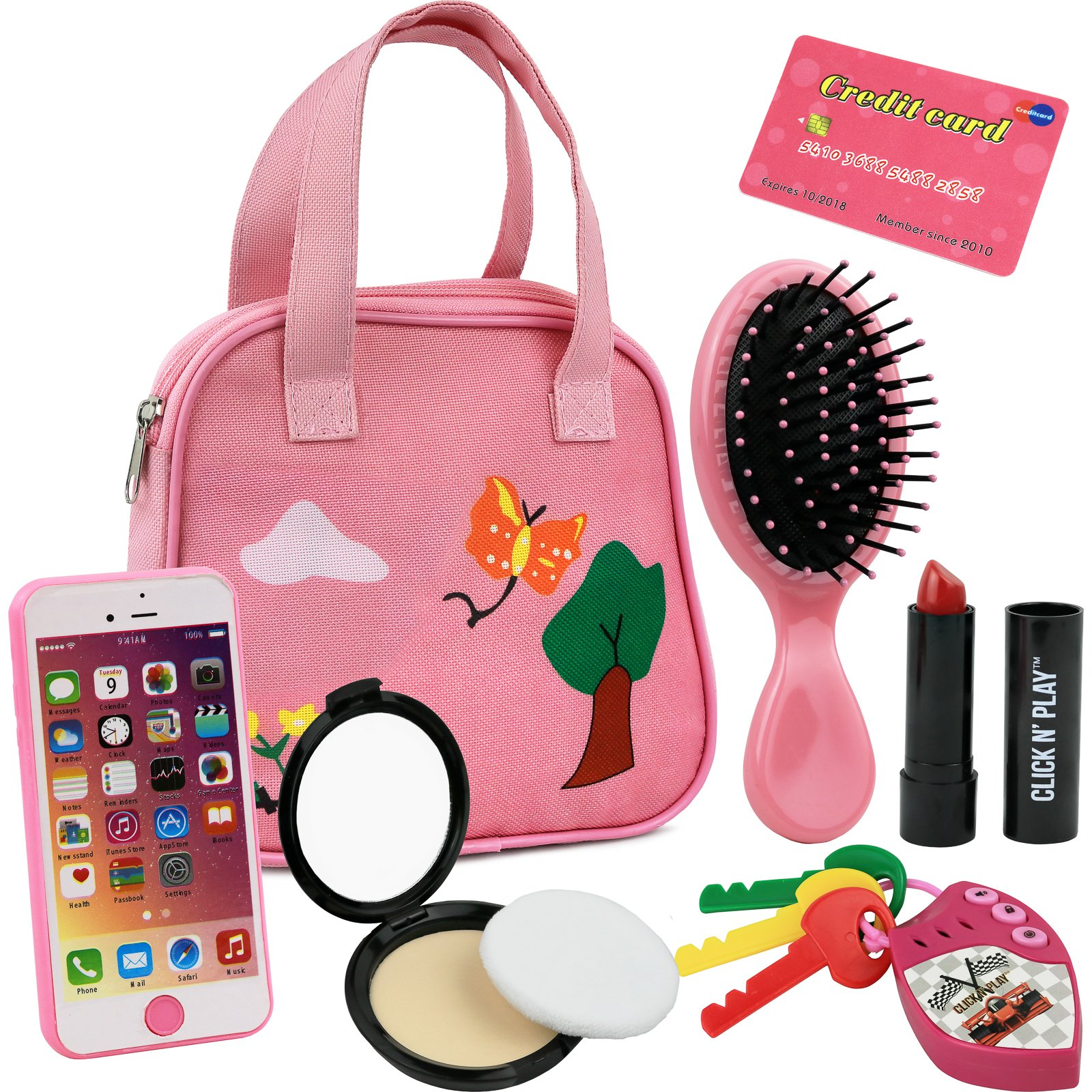 Click N' Play 8Piece Girls Pretend Play Purse, Including A Smartphone, Car Keys, Credit Card, Lipstick, Lights Up & Make Real Life Sounds by Click N' Play