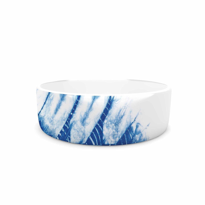 KESS InHouse Draper Indigo Shibori bluee White Watercolor Pet Bowl, 4.75  Diameter