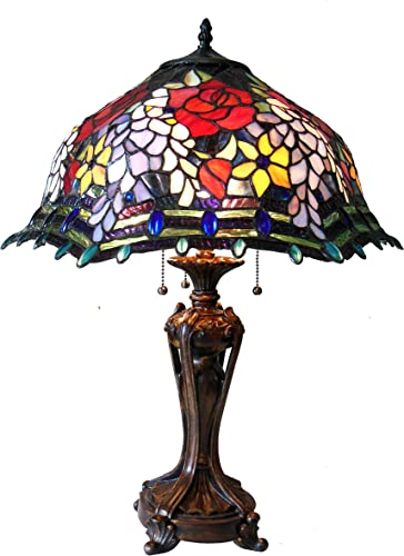 Chloe CH18340RF20-TL3 CARRELL Tiffany-Style Roses Floor Lamp with 20 Shade