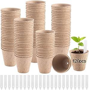 120 Pack Round Seedling Starter Peat Pots- 3.1