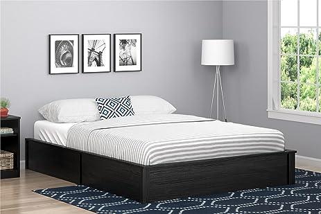 black modern platform bed. Ameriwood Home 5961325COM Slim And Modern Platform Bed, Queen, Black Oak Bed E