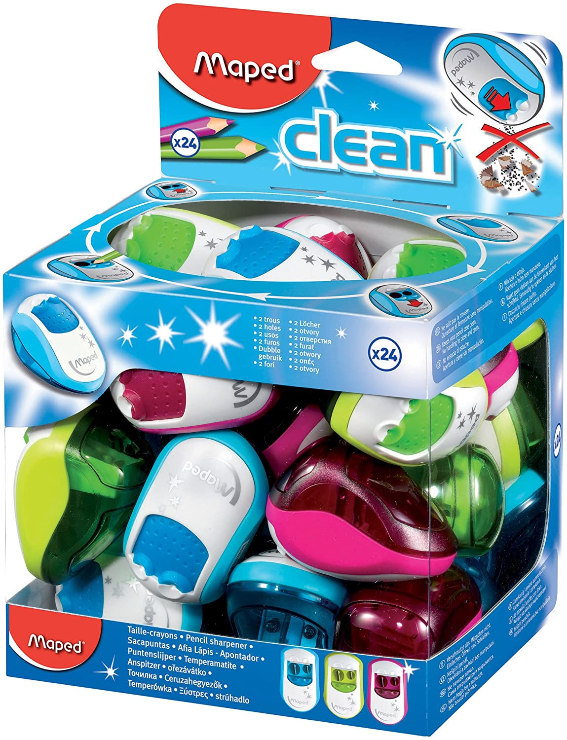 Maped Clean 2 Hole Canister Pencil Sharpener (Box of 24 in Assorted Colours) 030211