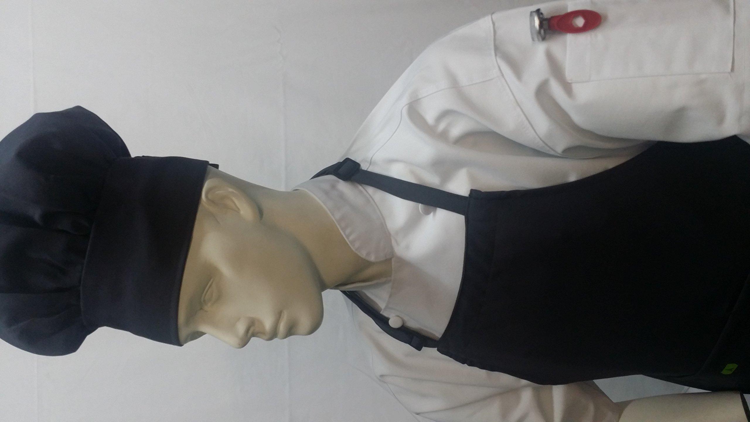Chefskin Light Grey 2X XXL Chef Set (Apron+hat) Adjustable, Ultra Lite Fabric