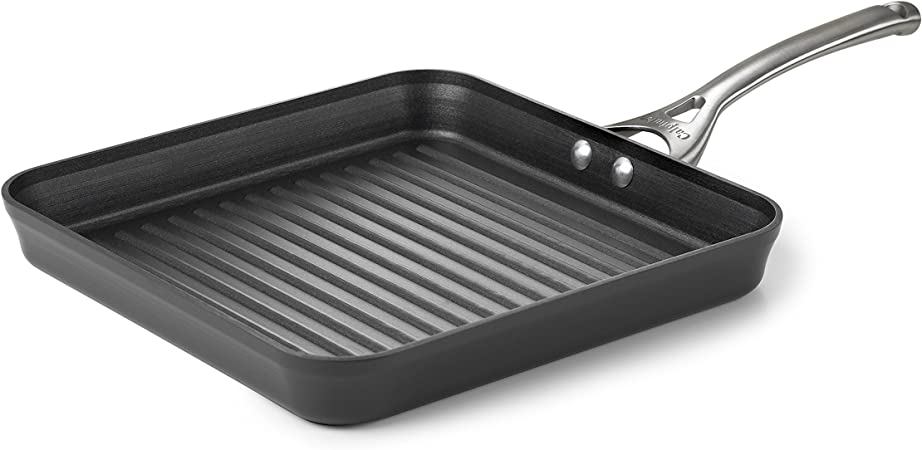 Calphalon Contemporary Hard-Anodized Aluminum Nonstick Cookware, Square Grill Pan, 11-Inch, Black
