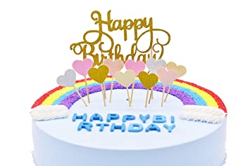 Wunderbar Happy Birthday Kuchendekoration Cake Toppers Kuchen Deko (Gold+ Rosa Herz)