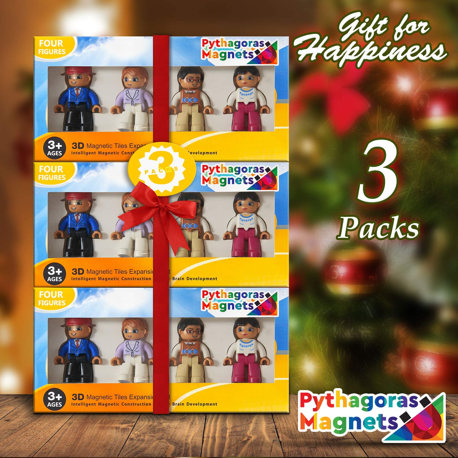 Magnetic Figures Set of 4 - Community Toy People Magnetic Tiles Expansion Pack for Boys and Girls - Pilot, Teacher, Lawyer, Coach Educational STEM Toys Add on Sets for Magnetic Blocks by Pythagoras Magnets (Image #1)