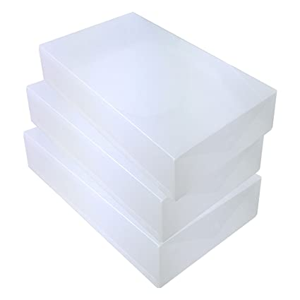 DynaSun 15x PP435 Heavy Duty Clear Plastic Shoe Storage Box Stackable Foldable Holder Container Organizer for men and ladies