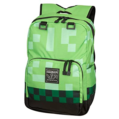 "JINX Minecraft Creeper Kids Backpack (Green, 18"") for School, Camping, Travel, Outdoors & Fun: Sports & Outdoors"