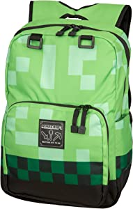 "JINX Minecraft Creeper Kids Backpack (Green, 18"") for School, Camping, Travel, Outdoors & Fun"