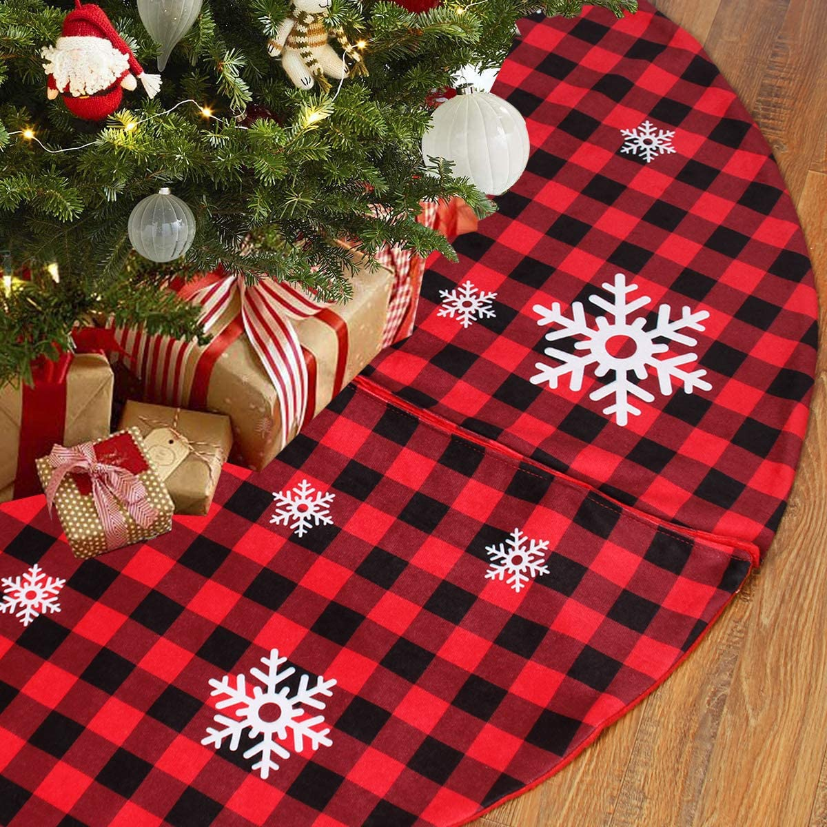 Christmas Tree Skirt Red and Black Buffalo Check Plaid Tree Skirt with Snowflake Design, 48inch Double Layers Xmas Tree Skirt for Christmas Decorations, Winter New Year House Decoration Supplies