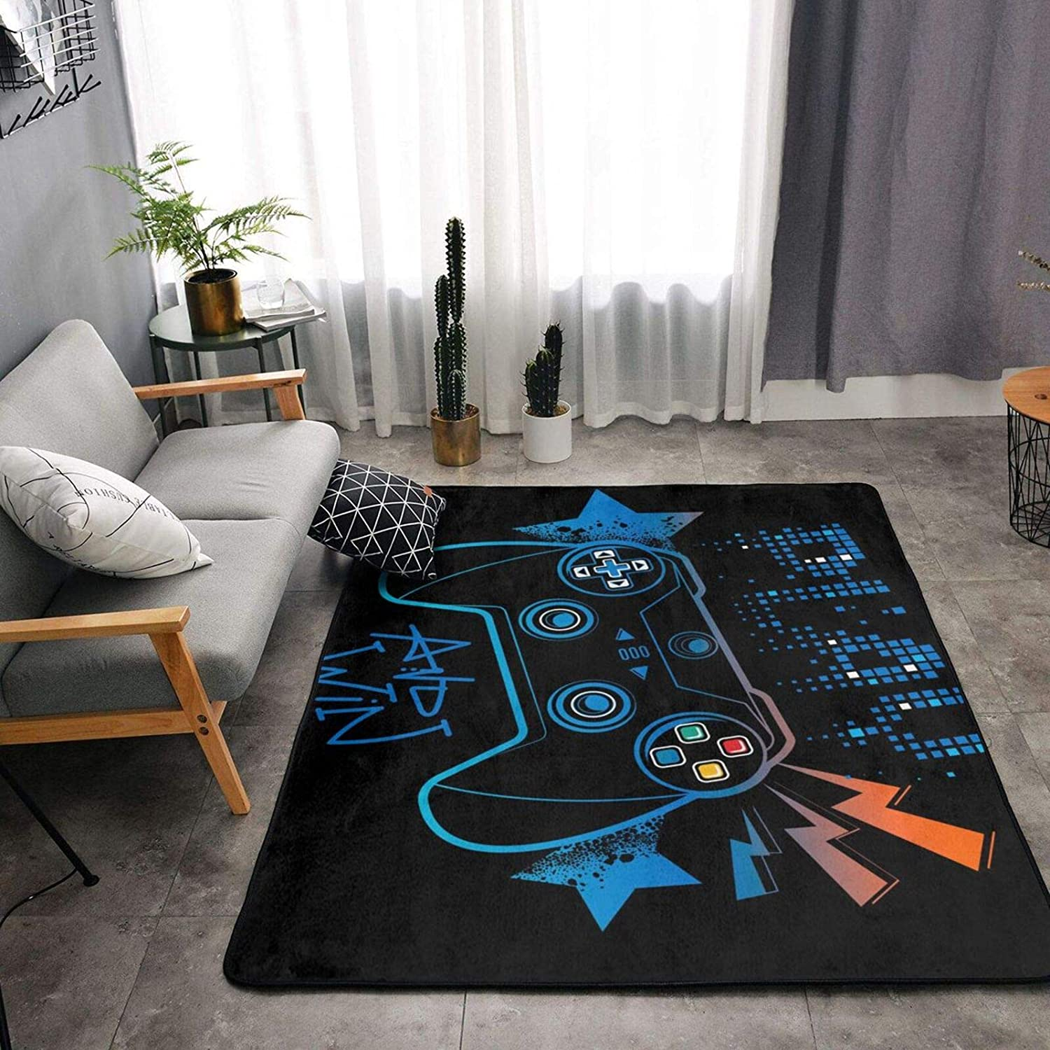 Video Game Weapon Gamer Play Gaming Area Rug Ultra Soft Cozy Rectangle Rugs 2x3 Feet, Luxury Indoor Non-Slip Floor Carpet for Home, Nursery, Bed and Living Room