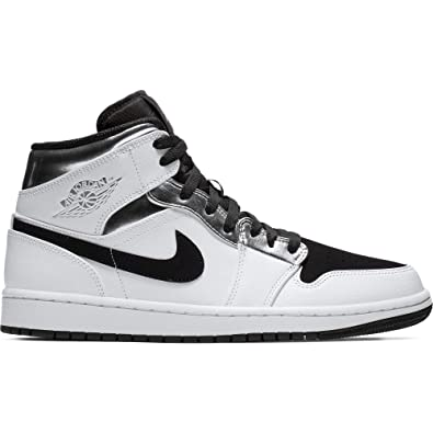 Nike Air Jordan 1 Mid 554724-121 White Metallic Silver - Black (13 9154ccf9c