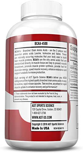 BCAA 4500 – Branched Chain Amino Acids – for Fast Muscle Energy, Growth, Strength and Ultra-Fast Recovery – AST Sports Science 1