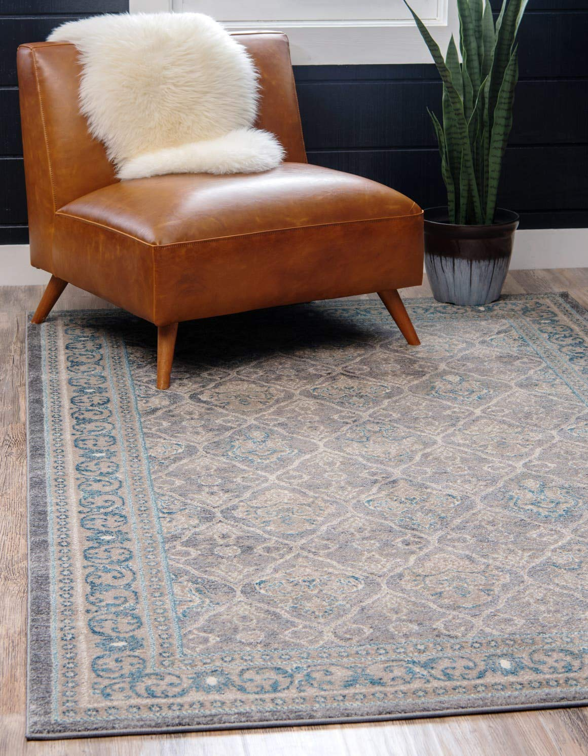 Unique Loom Salzburg Collection Traditional Oriental Gray Area Rug 3 3 x 5 3