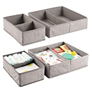 mDesign Fabric Baby Nursery Storage Organizers Clothing, Towels, Diapers, Lotion, Wipes - Set of 4, 4 Total Compartments, Linen