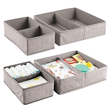 mDesign Juego de 4 organizadores para bebés – Cestas de tela grandes con 2 compartimentos cada
