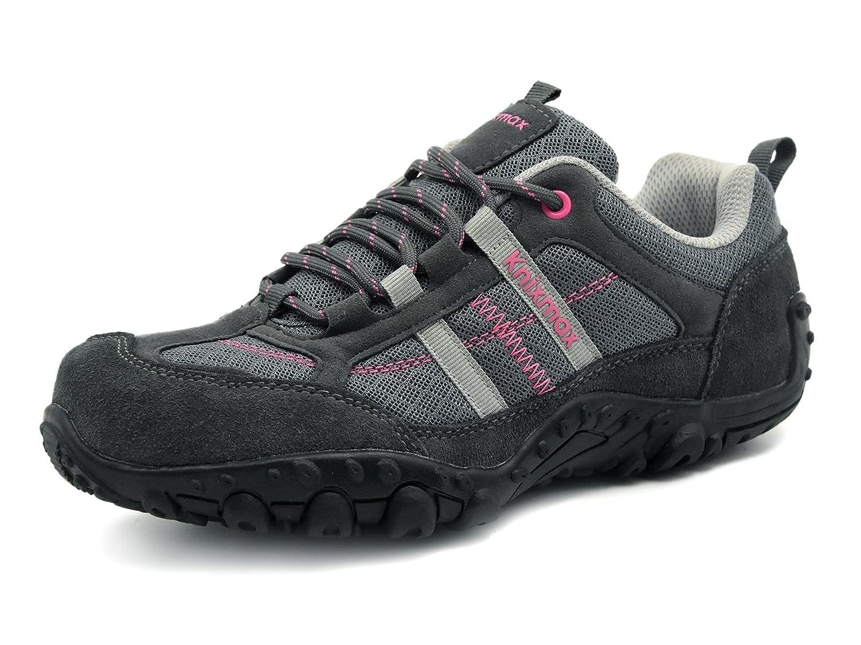 Knixmax-Zapatillas de Senderismo para Mujer, Zapatillas de Montaña Trekking Trail Ligeros Cómodos y Transpirables Zapatillas de Seguridad Low-Top Antideslizante de Deporte(Negro,Gris,Rojo)